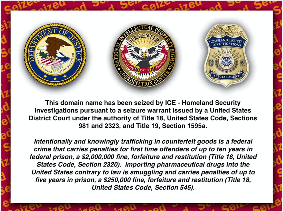 Homeland Security website parked example