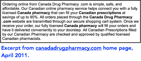 exceprt from canadadrugpharmacy.com home page