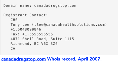 canadadrugstop.com whis record april 2007