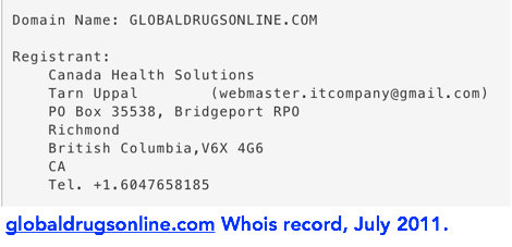 globaldrugsonline.com whis record from July 2011