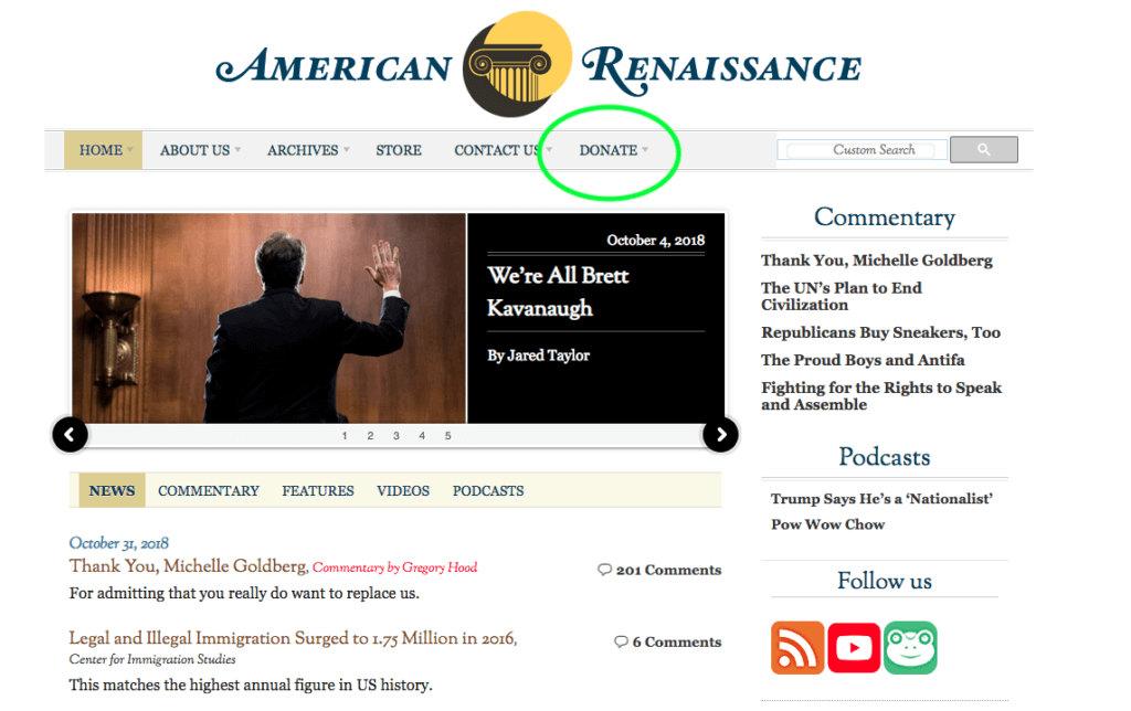 American Renaissance asserts that some races are more intelligent than others. The anti-diversity website accepts credit card donations online through a payment processor.