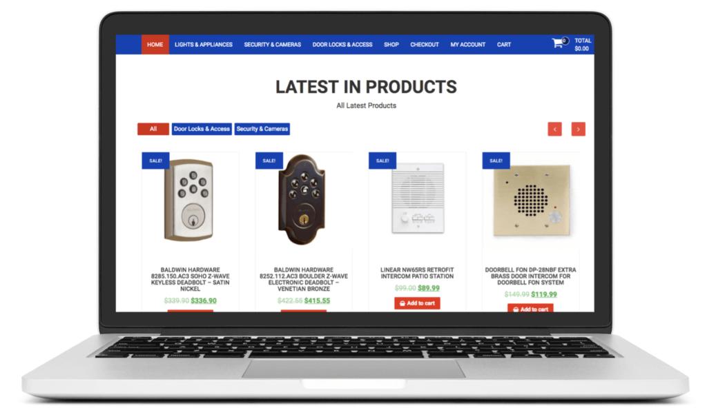 Laptop showing a drop-shipping website selling locks