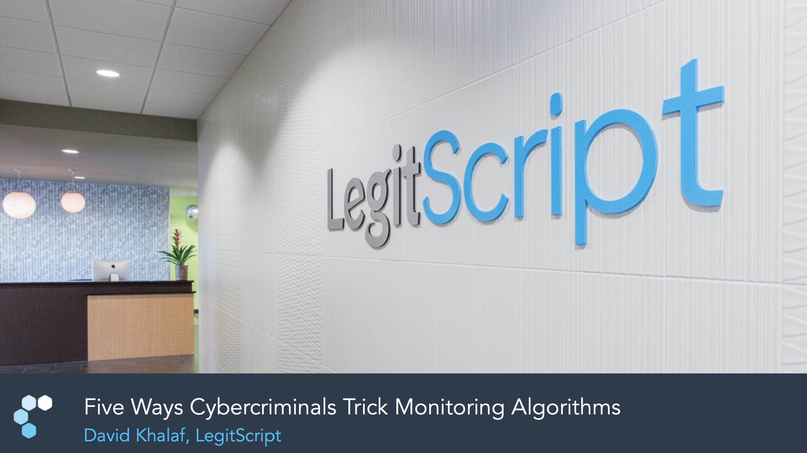 Cover of slide deck showing LegitScript's officers