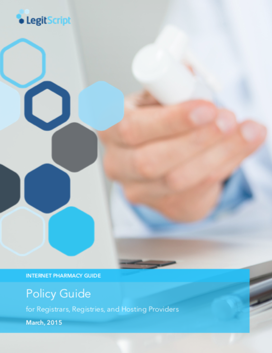 Cover of LegitScript register policy guide with man holding pill bottle.
