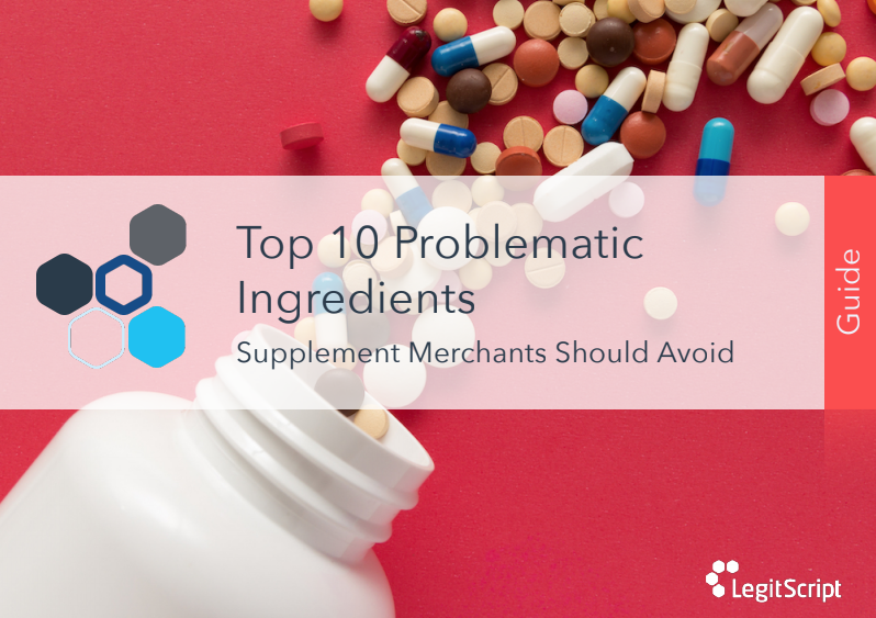 Cover of Problematic Ingredients Guide featuring a bottle of spilled pills