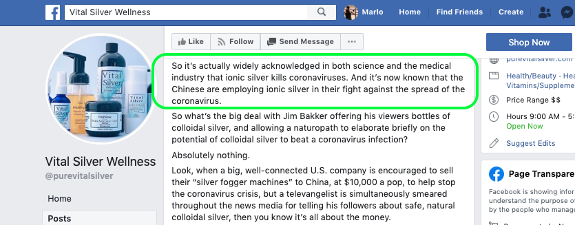 Screenshot of Vital Silver Wellness Facebook page