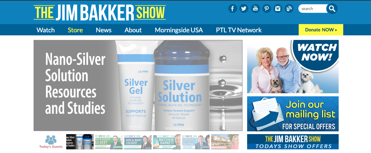 Jim Bakker Show homepage