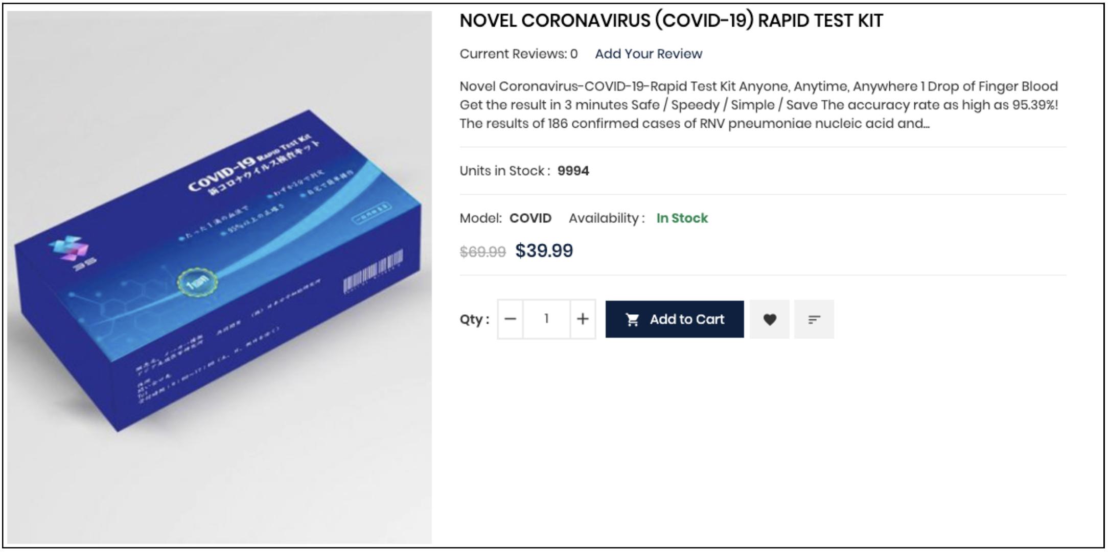 Coronavirus COVID-19 self-test kit