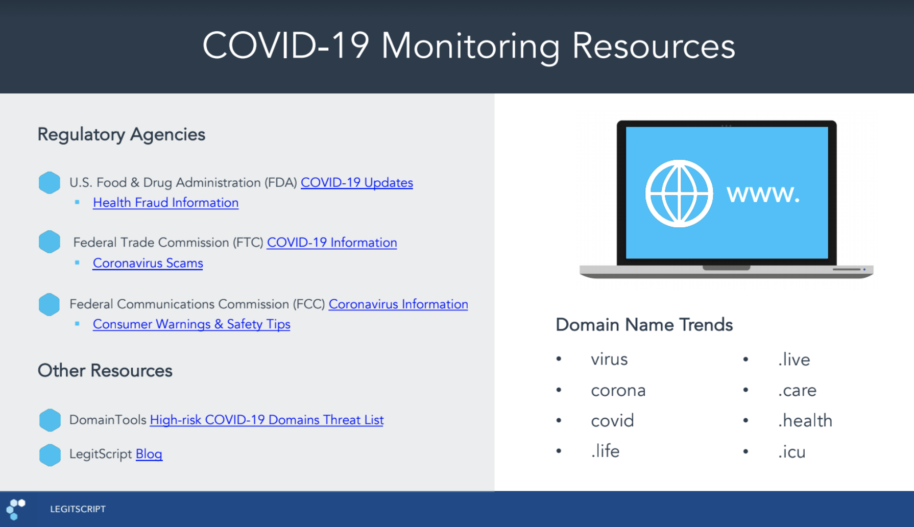 slide listing resources for COVID-19