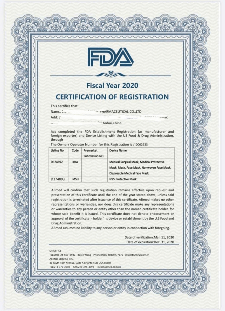image of a fake medical device registration